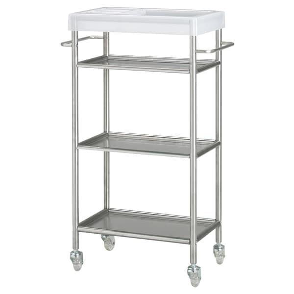 GRUNDTAL Trolley, stainless steel, 48x24x77 cm