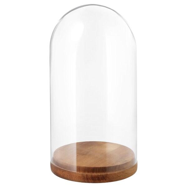 HÄRLIGA Glass dome with base, clear glass, 27 cm