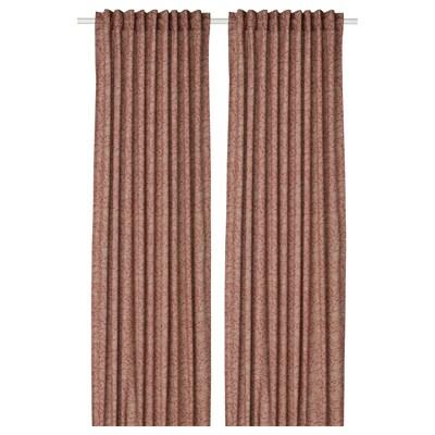 HAKVINGE Curtains, 1 pair, /leaf patterned, 145x250 cm
