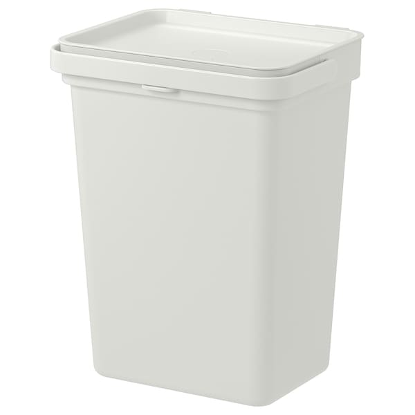 HÅLLBAR Bin with lid, light grey, 10 l