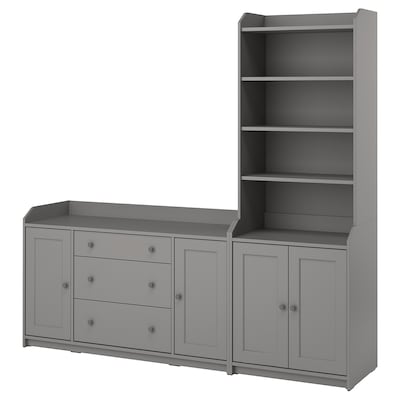 HAUGA Storage combination, grey, 210x46x199 cm