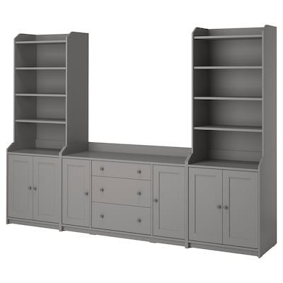 HAUGA Storage combination, grey, 279x46x199 cm