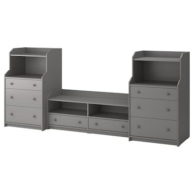 HAUGA TV/storage combination, grey, 277x46x116 cm
