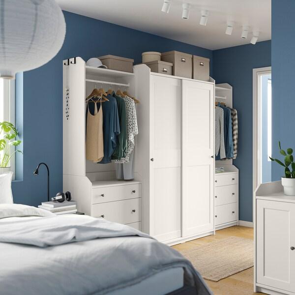 HAUGA Wardrobe combination, white, 258x55x199 cm