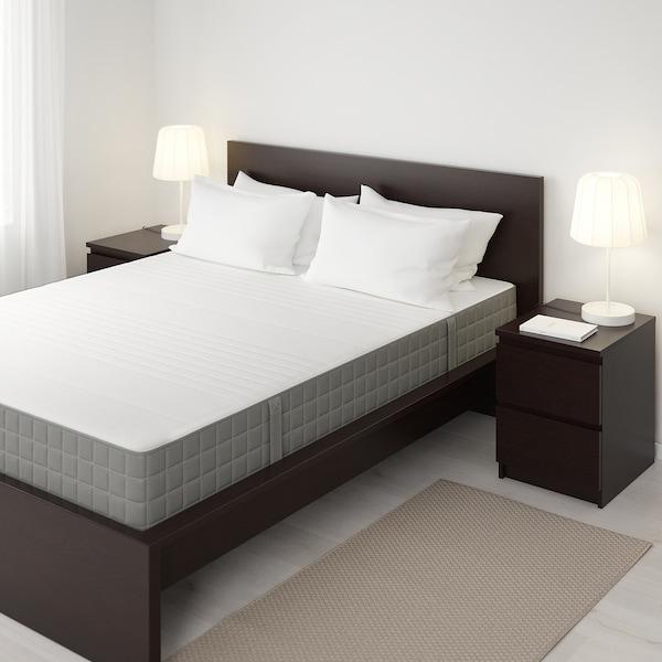 HAUGSVÄR Hybrid mattress, firm/dark grey, Queen