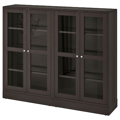 HAVSTA Storage combination w glass doors, dark brown, 162x37x134 cm
