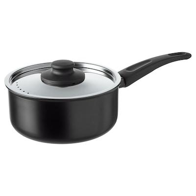 HEMLAGAD Saucepan with lid, black, 2 l