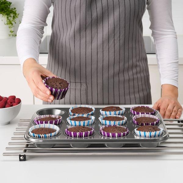 HEMMABAK Muffin tin, grey, 38x27 cm