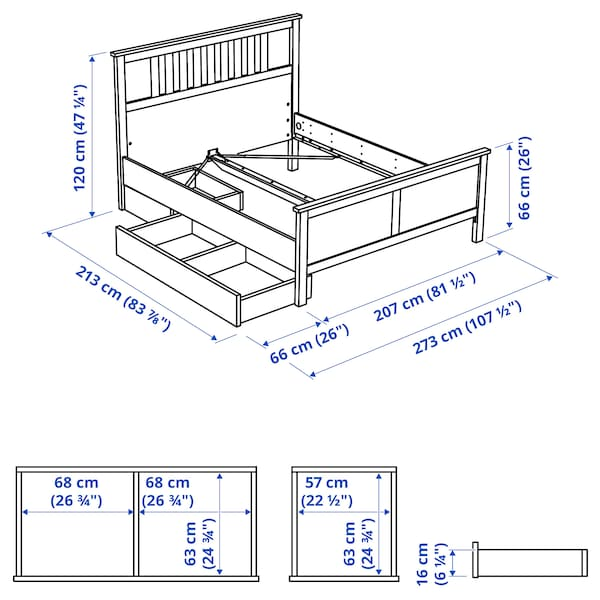 HEMNES Bed frame with 2 storage boxes, white stain/Espevär, King
