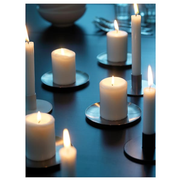 HEMSJÖ Unscented block candle, natural, 8 cm