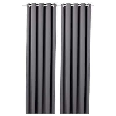 HILLEBORG Block-out curtains, 1 pair, grey, 145x250 cm