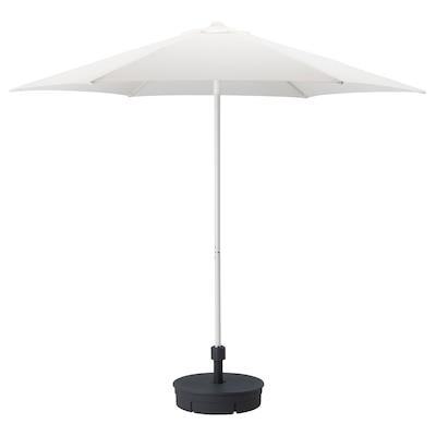 HÖGÖN Parasol with base, white/Grytö dark grey, 270 cm
