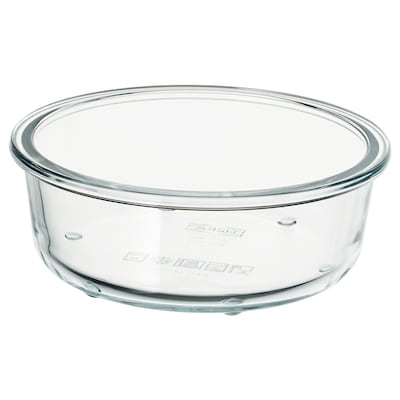 IKEA 365+ Food container, round/glass, 400 ml