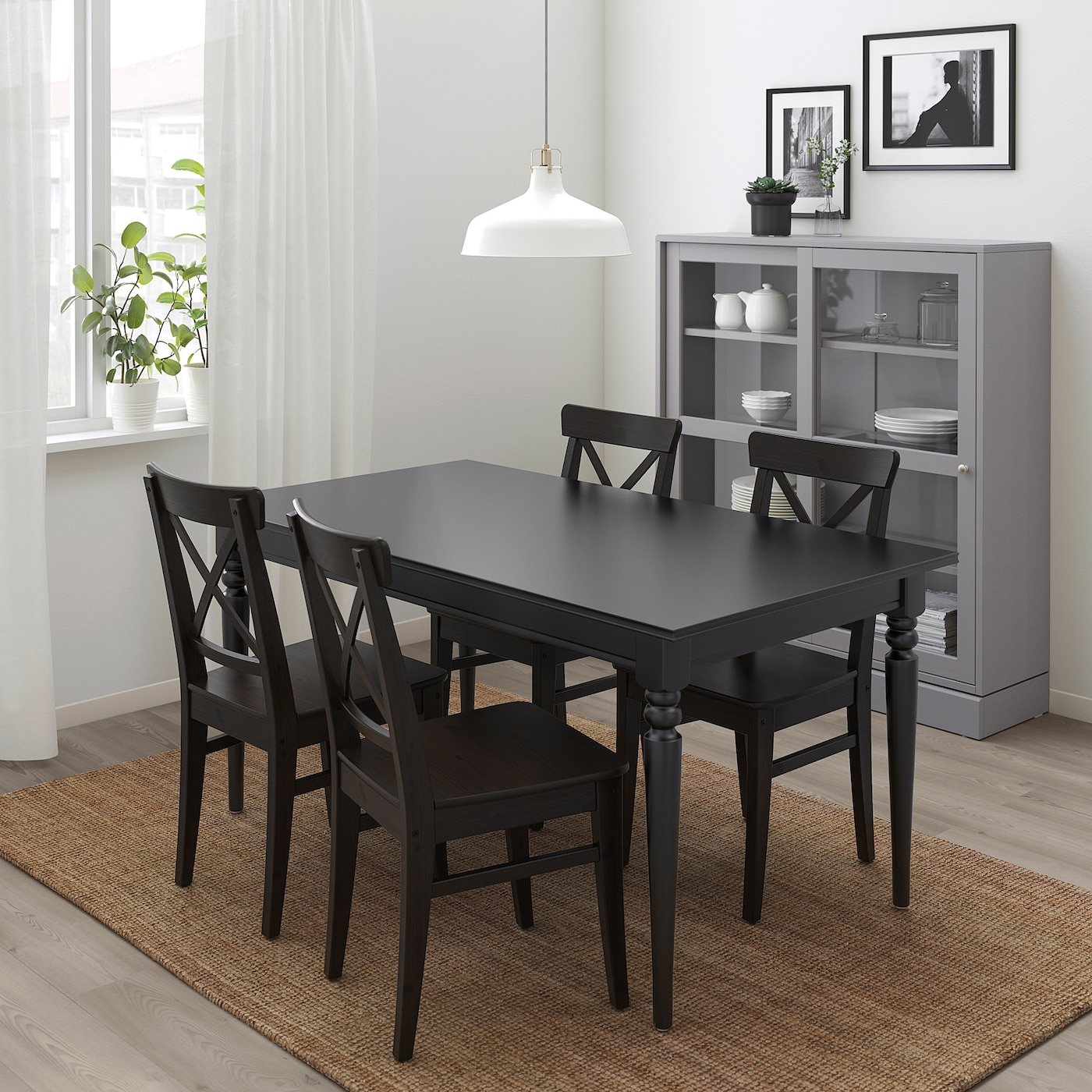 INGATORP / INGOLF Table and 9 chairs   black/brown black   IKEA