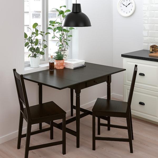 INGATORP / STEFAN Table and 2 chairs, black-brown/brown-black, 65/123x78 cm