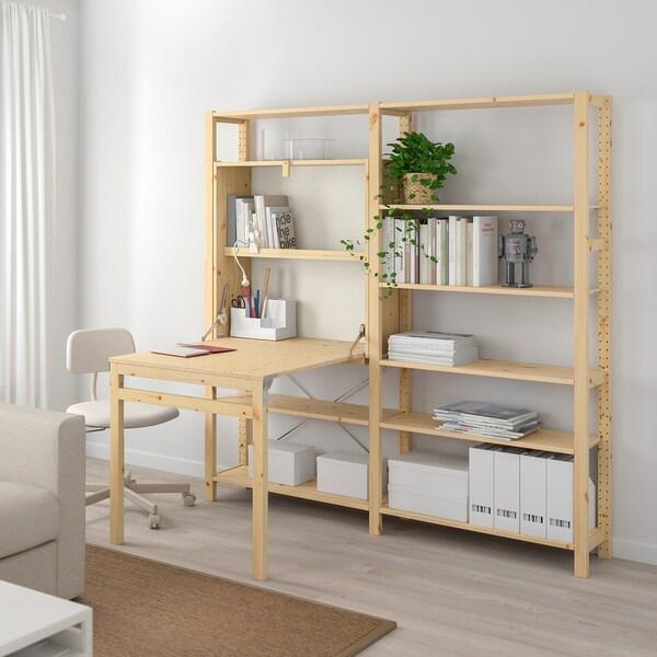 IVAR 2 sec/storage unit w foldable table, pine, 175x30-104x179 cm