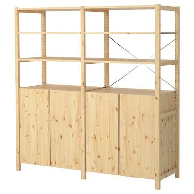 IVAR 2 sections/shelves/cabinet, pine, 174x50x179 cm