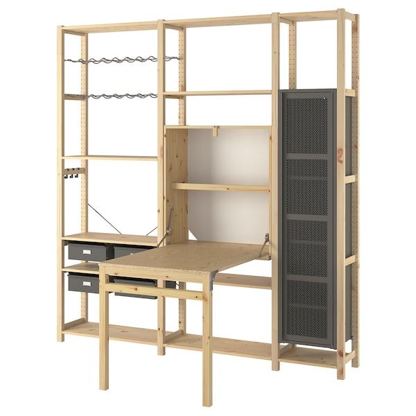IVAR 3 sec/storage unit w foldable table, pine/grey mesh, 219x30-104x226 cm