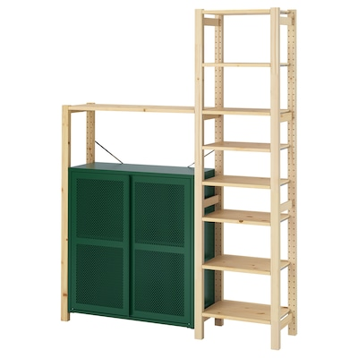 IVAR Shelving unit w cabinets/drawers, pine/green mesh, 134x30x179 cm