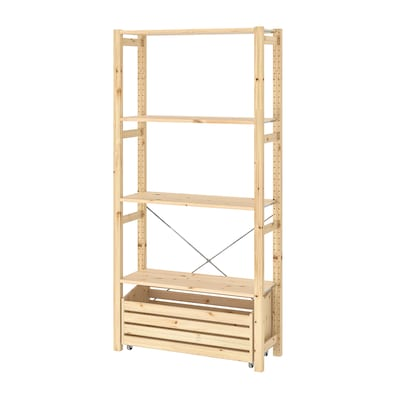 IVAR Shelving unit with storage box, pine, 89x30x179 cm