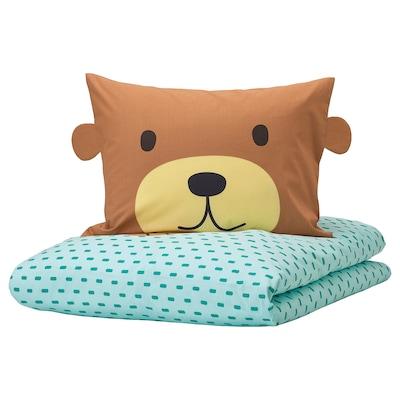 KÄPPHÄST Duvet cover and pillowcase, bear turquoise, Twin