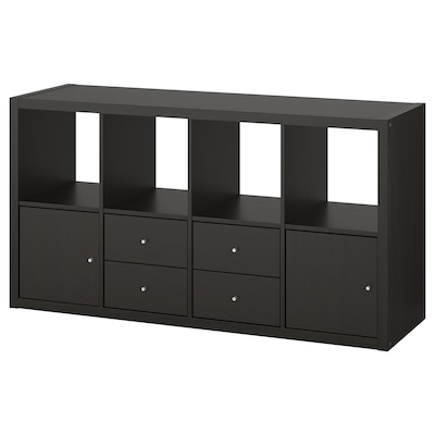 KALLAX Shelving unit with 4 inserts, black-brown, 77x147 cm