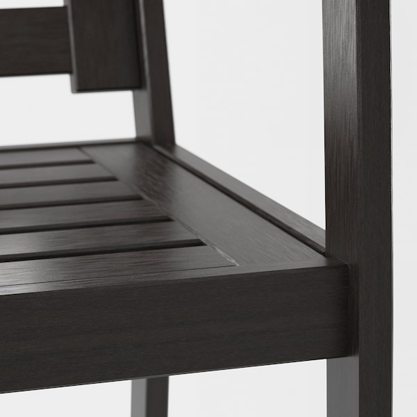 KLÖVEN Chair with armrests, outdoor, black-brown