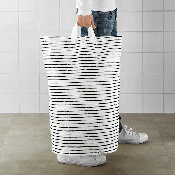 KLUNKA Laundry bag, white/black, 60 l