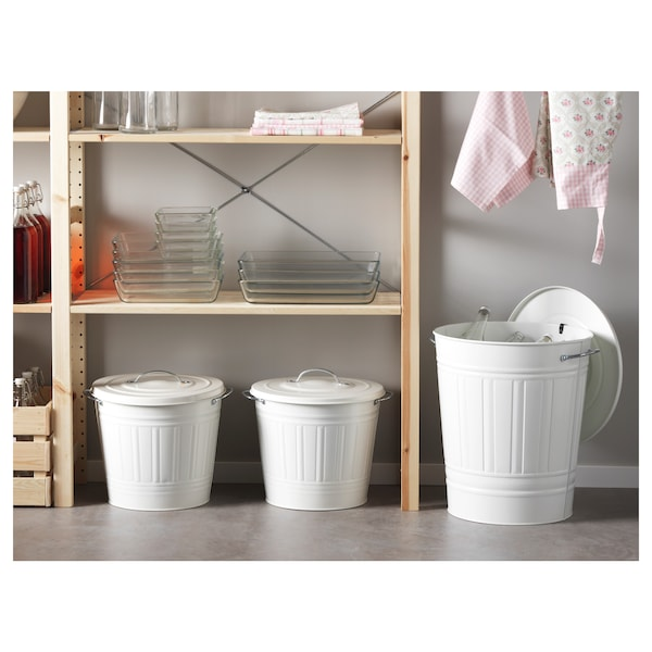 KNODD Bin with lid, white, 40 l
