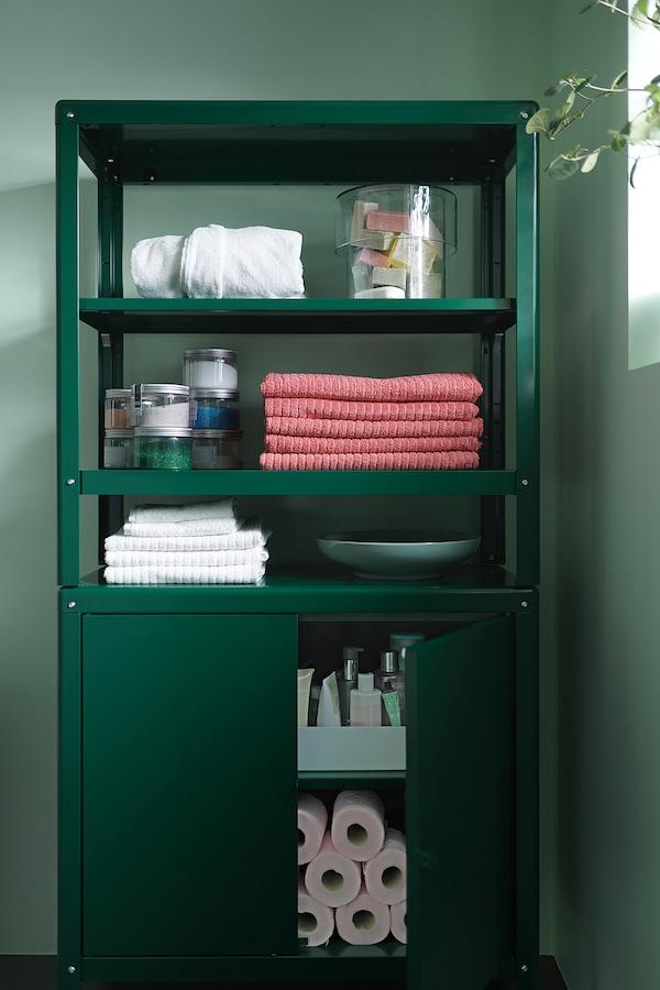 KOLBJÖRN Shelving unit with cabinet, green, 80x37x161 cm