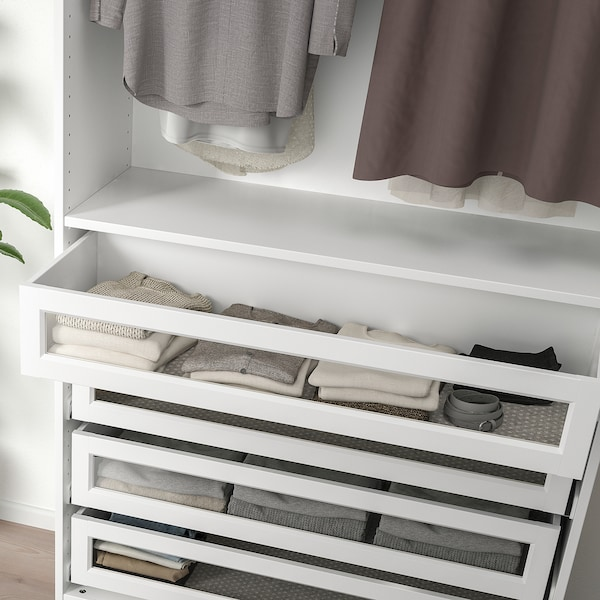 KOMPLEMENT Drawer with framed glass front, white, 100x35 cm
