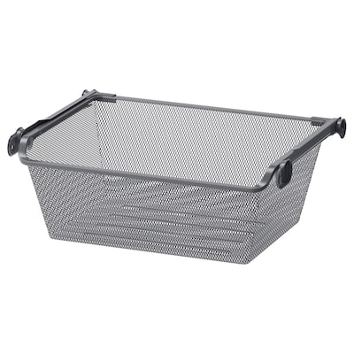 KOMPLEMENT Mesh basket with pull-out rail, dark grey, 50x35 cm