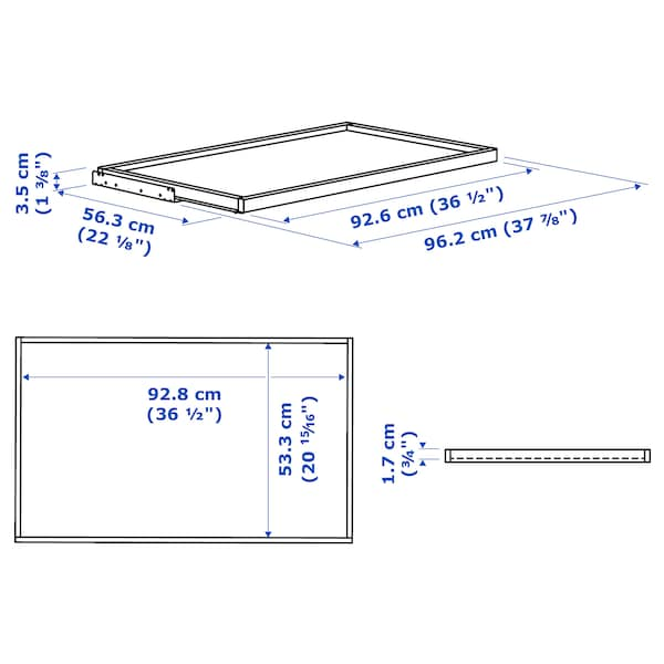 KOMPLEMENT Pull-out tray, black-brown, 100x58 cm