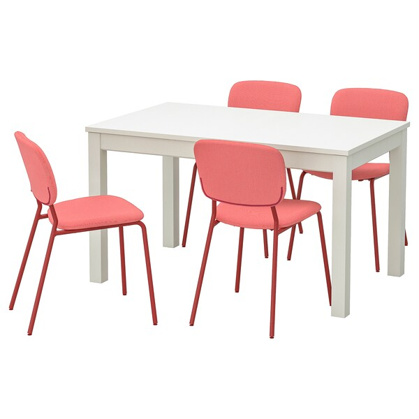 LANEBERG / KARLJAN Table and 4 chairs, white/red red, 130/190x80 cm