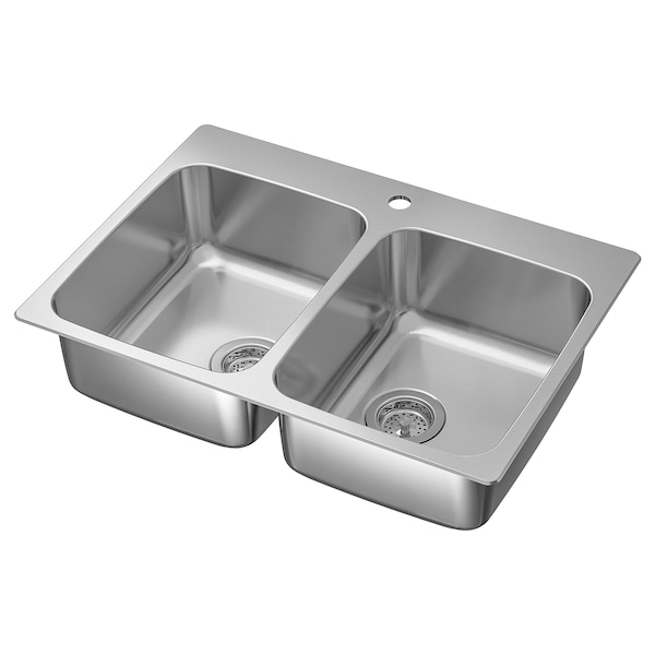LÅNGUDDEN Inset sink, 2 bowls, stainless steel, 75x53 cm