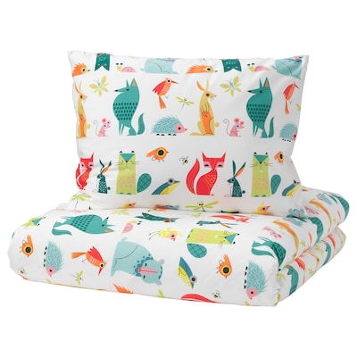 LATTJO Duvet cover and pillowcase, animal/multicolour, Twin