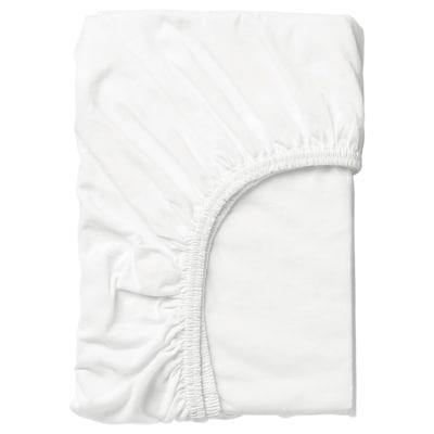 LEN Fitted sheet, white, 97x155 cm