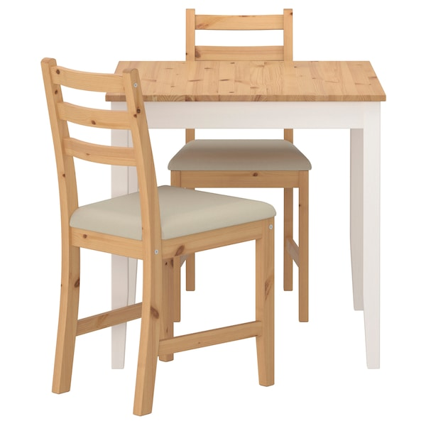 LERHAMN Table and 2 chairs, light antique stain white stain/Vittaryd beige, 74x74 cm
