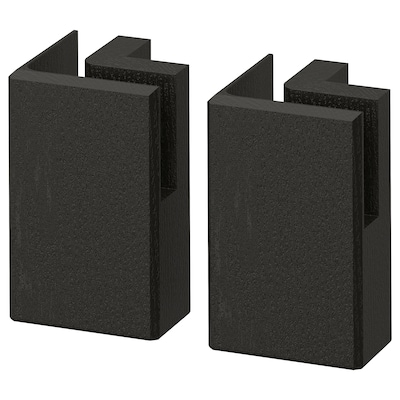LERHYTTAN Corner leg for decorative plinth, black stained, 11 cm 2 pack