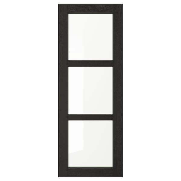 LERHYTTAN Glass door, black stained, 38x102 cm