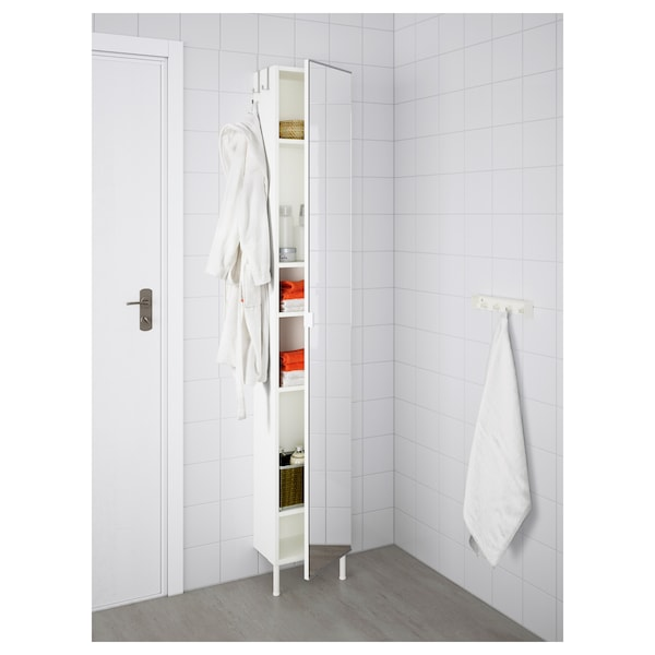 LILLÅNGEN High cabinet with mirror door, white, 30x21x189 cm