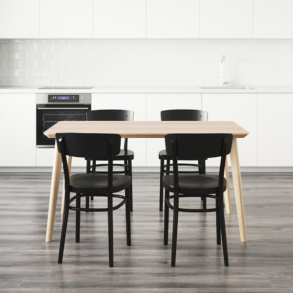 LISABO / IDOLF Table and 4 chairs, ash veneer/black, 140x78 cm