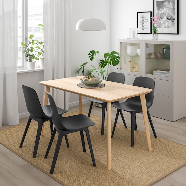LISABO / ODGER Table and 4 chairs, ash veneer/anthracite, 140x78 cm