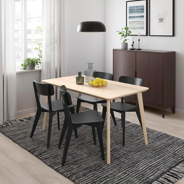 LISABO / LISABO Table and 4 chairs, ash veneer/black, 140x78 cm