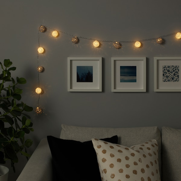 Livsar Led Lighting Chain With 12 Lights Indoor Battery Operated Grey White Ikea