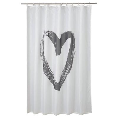 LYKTFIBBLA Shower curtain, white/grey, 180x180 cm