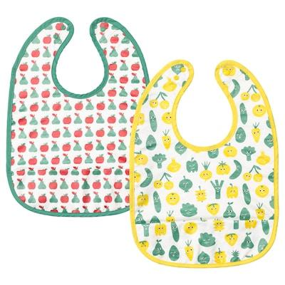 MATVRÅ Bib, fruit/vegetables pattern/green yellow
