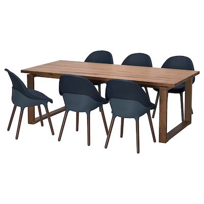 MÖRBYLÅNGA / BALTSAR Table and 6 chairs, oak veneer brown stained/black-blue, 220x100 cm