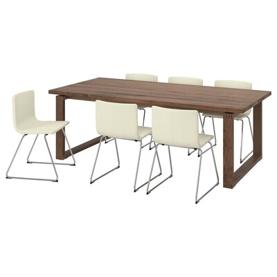 MÖRBYLÅNGA / BERNHARD Table and 6 chairs, brown/Kavat white, 220x100 cm