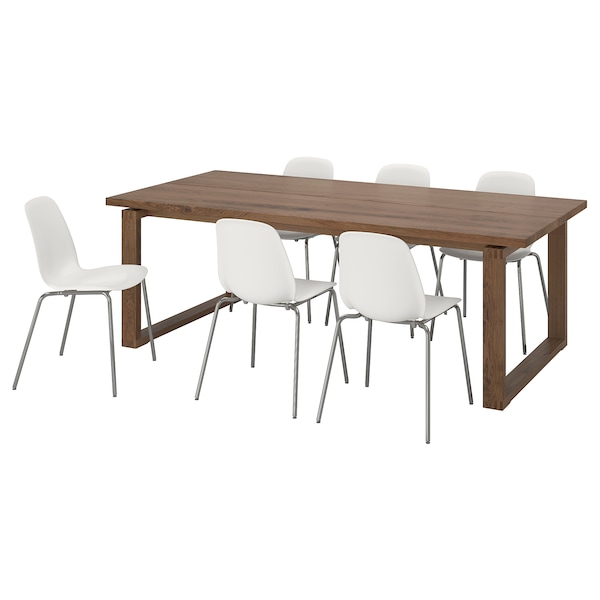 MÖRBYLÅNGA / LEIFARNE Table and 6 chairs, brown/white, 220x100 cm